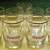 White Crowned Hamm's Barrel Beer Glasses