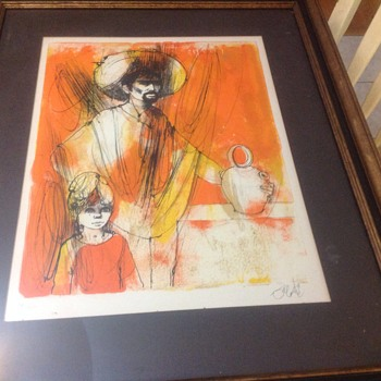 mexico lithograph art work with sombraro