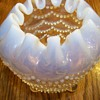 Opalescent beaded rose bowl