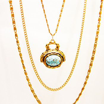 Vintage Goldette Turquoise Fob Necklace - Costume Jewelry