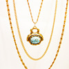 Vintage Goldette Turquoise Fob Necklace