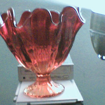 blown red glass vase - Art Glass