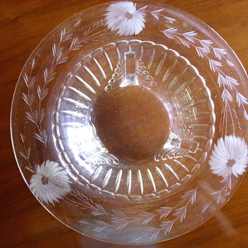 Glass Bowl Etched & Footed - Glassware