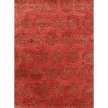 Rugsville Teardrop Medallion Terra Cotta Wool Rug 17140 - Rugs and Textiles