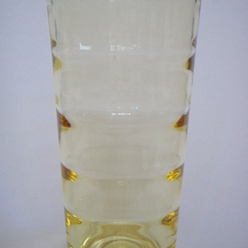 Swedish Modern Optic Vase in Yellow~Age? or maker? - Art Glass