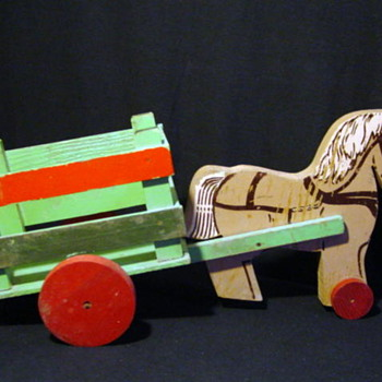 Vintage Horse &amp; Wagon Marked The Toy Kraft - Animals