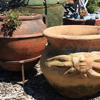 A couple of older terracotta pots - Art Pottery