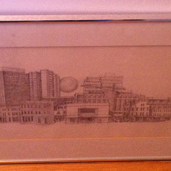 Pencil drawing of downtown. - Visual Art