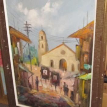 Large Mission painting - Visual Art