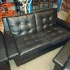 Vintage midcentury black leather Couch