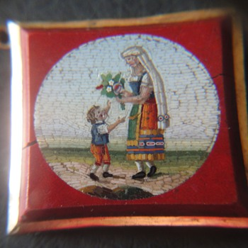 Two about 1830&#039;s Micro Mosaic gold mounted plaques.
