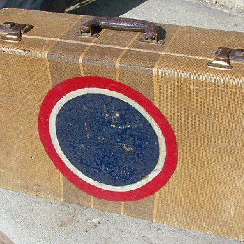 Vintage Suitcase with Military Insignia Red & White Ringed Blue Ball