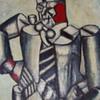 Cubisan  art oil on burlap..