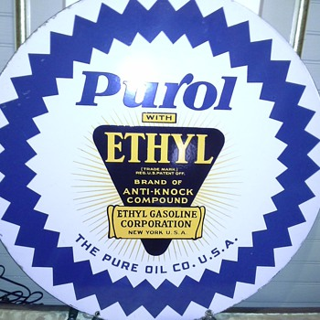 "Purol with ETHYL 30"" round, Hanging strap. Need Info? I'm thinking it kind of hard to find? - Advertising"