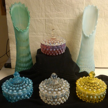 stunning fenton hobnail candy dishes and lg. swung vases - Glassware