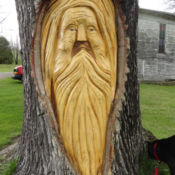 Whimsical Tree Carvings.  - Folk Art