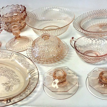 Various Pink Depression Glass