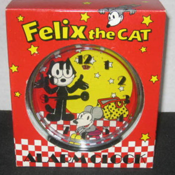"Animated ""Nodder"" Felix the Cat and Skiddoo Alarm Clock - Clocks"