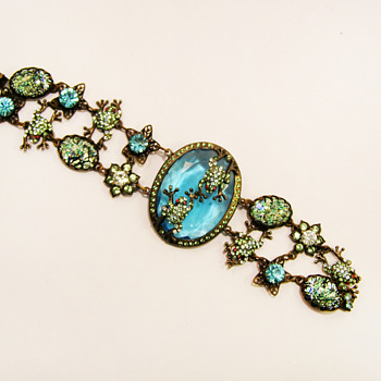 Vintage Frog Pond Bracelet - Costume Jewelry