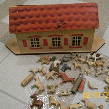 1800's Toy Carved German Noahs Ark  - Christmas