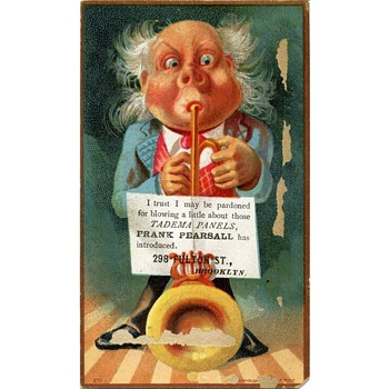 Another 1881 Whimsical Cartoony Trade Card for Frank Pearsall, Brooklyn Photographer