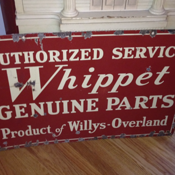 Double Sided Authorized Service Whippet Willys-Overaland Sign - Advertising