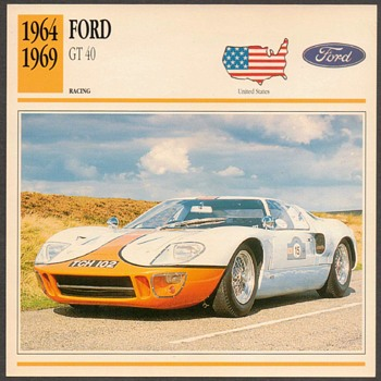 Vintage Car Card - Ford GT 40 - Cards