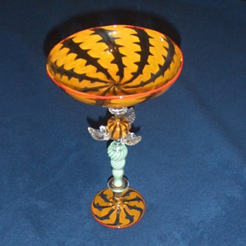 Modern art glass compote