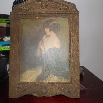 Antique Signed Lithograph In Antique Wood Frame - Visual Art
