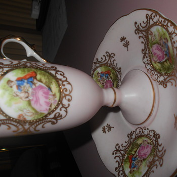 Lefton China Fragonard French hand painted  cup and saucer - China and Dinnerware