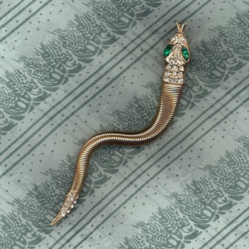 Egyptian Revival trembler snake pin - Costume Jewelry