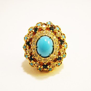 Vintage Panetta Turquoise Cabochon with Tier Rhinestones Ring - Costume Jewelry