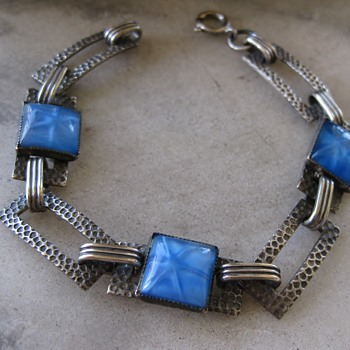 Blue star glass deco sterling bracelet - Fine Jewelry