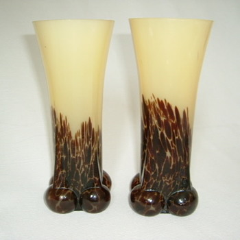 Czech Art Deco Spatter Glass Vases - Art Glass