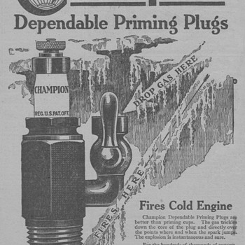 1919 Champion Spark Priming Plugs Advertisement - Advertising