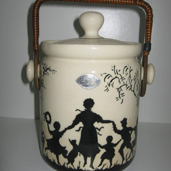 Erphila Art Pottery Czechoslovakia Biscuit Barrel Decor is Silhouette - Art Pottery