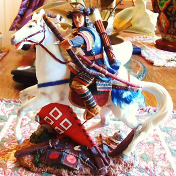 Japanese Shogun? statue, on White Horse no markings on it, - Asian