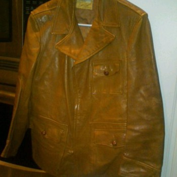 "Goatskin car jacket labled ""Styled by Ronnie Reagan""."