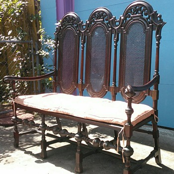 Matching settee to the chairs and labels found under side