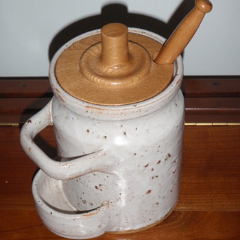 "Interesting Pottery Canister w/Lid & ""Holey"" Spoon - Art Pottery"