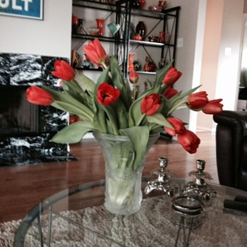Easter Tulips in a magnificent Czech Satin Aquarium Vase by Barolac - Art Glass