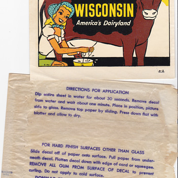 Vintage Travel Decal of Wisconsin Girl Milking Cow  - Advertising