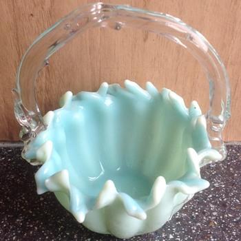 Victorian small glass basket - Art Glass