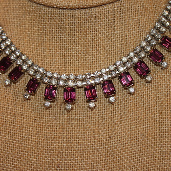Vintage Clear and Purple Rhinestone Necklace and Earrings... - Costume Jewelry