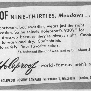 1952 - Holeproof Hosiery Advertisement - Advertising