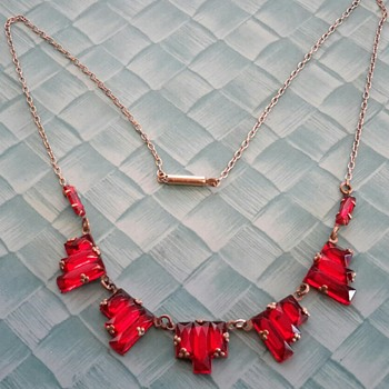 Czech Art Deco Red Stepped Mirror Glass Necklace