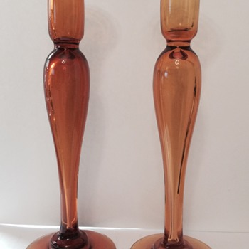 Pairpoint Blown Hollow Amber Candlesticks - Art Glass