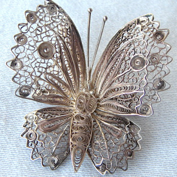 Vintage European? Sterling Silver Filigree Wire Butterfly Brooch Signed