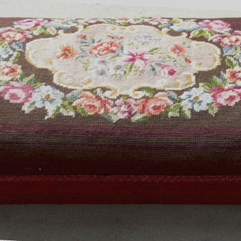VICTORIAN NEEDLEPOINT FOOTSTOOL WITH PETIT-POINT CENTER