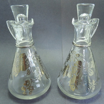 Hazel Atlas Silver Overlay Oil and Vinegar Jars